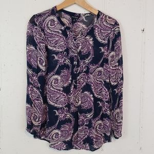 Lucky brand S blue/wht/purple paisley sheer tunic
